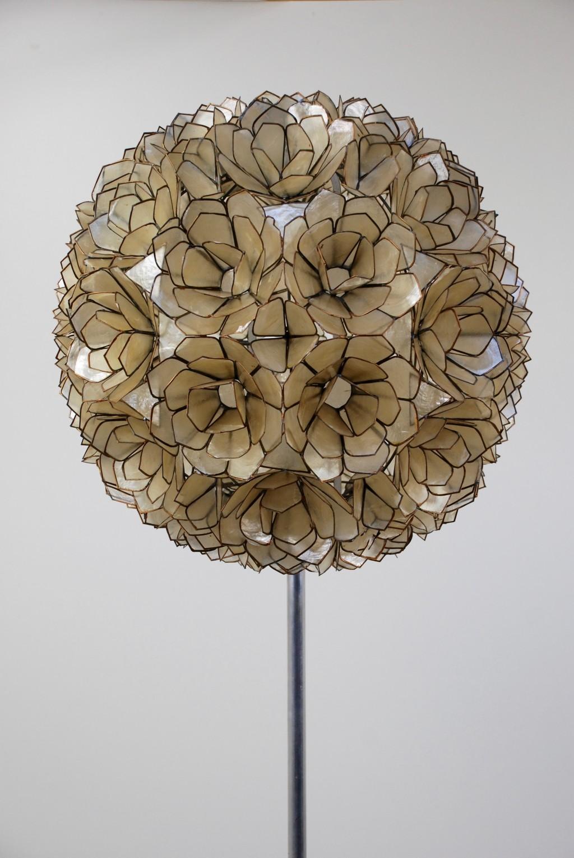 Stehleuchte Nr.2  'Capiz shell', Willy Daro 1960er Jahre