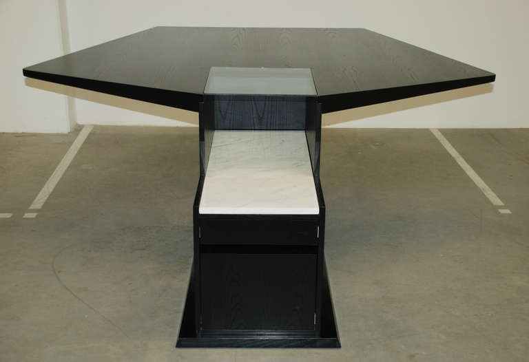 Esstisch mit Küchenstützpunkt 'M 2' und vier Stühlen 'B 1', Stefan Wewerka 1979