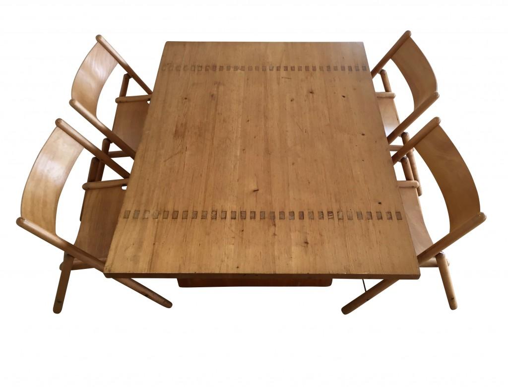 Tisch und vier Klappstühle 'Rotis-Serie', Otl Aicher 1971/72