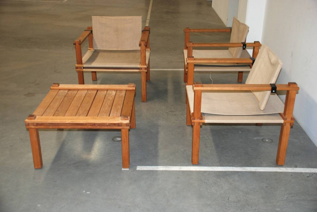 Drei Sessel und ein Beistelltisch 'Farmer', Gerd Lange 1967