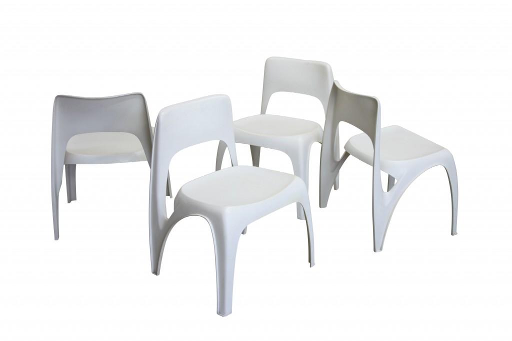 Vier Kunststoffstühle, Preben Fabricius 1970er Jahre